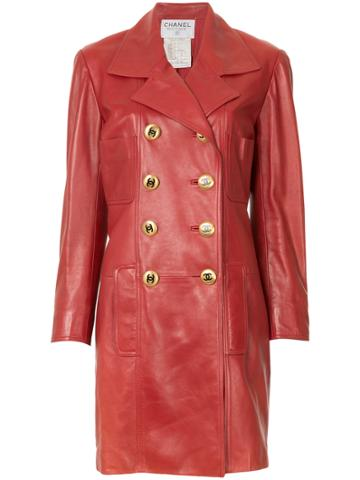 Chanel Vintage Double-breasted Leather Coat - Red