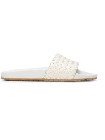 Bottega Veneta Basket Woven Slides - White