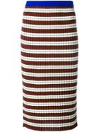 Marni Striped Ribbed Mid Skirt - Multicolour
