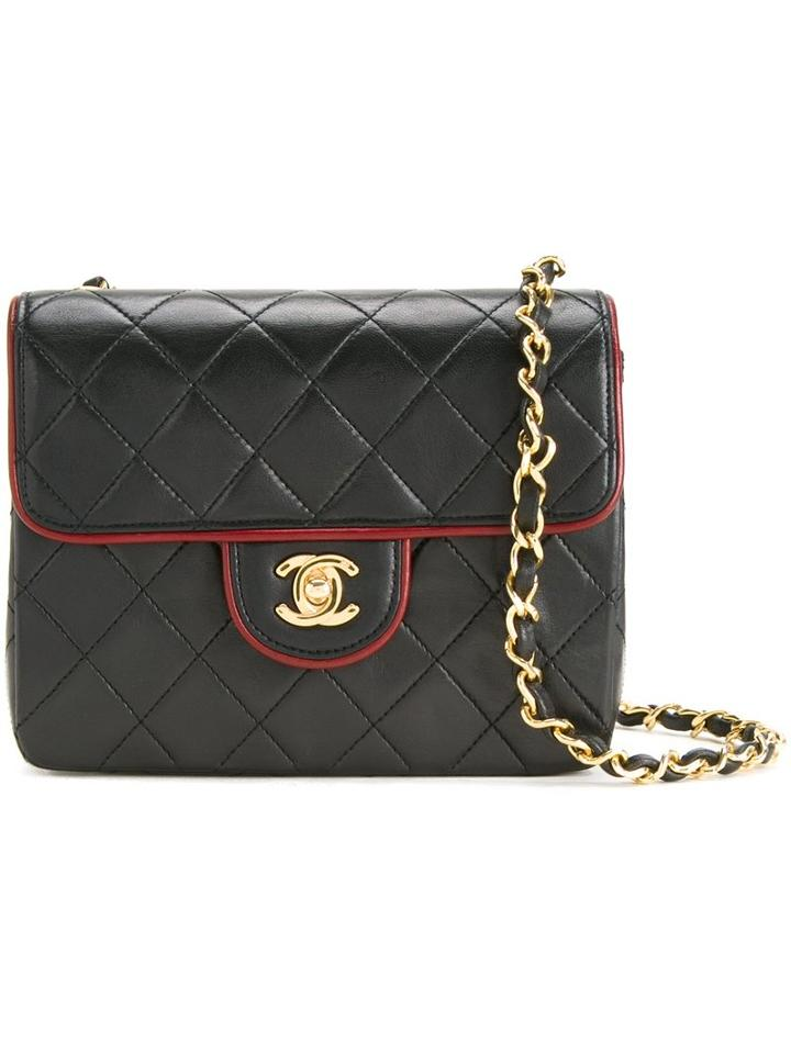 Chanel Vintage Small Cc Quilted Shoulder Bag, Women's, Black