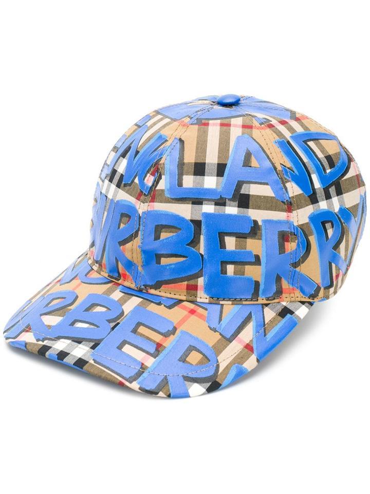 Burberry Graffiti Check Baseball Cap - Blue