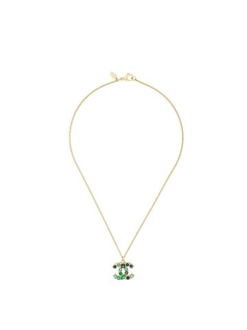 Chanel Vintage Colourful Rhinestoned Logo Necklace - Metallic