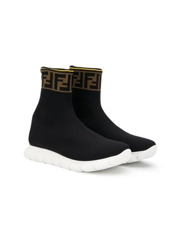 Fendi Kids Teen Hi-top Ff Logo Sneakers - Black