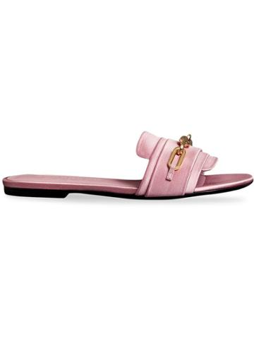 Burberry Link Detail Satin And Leather Slides - Pink