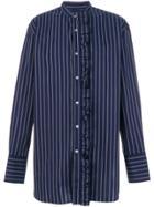 Wooyoungmi Ruffled Detail Striped Shirt - Blue