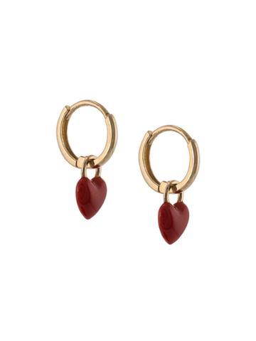 Alison Lou 14kt Yellow Gold Heart Drop Huggie Earring - Red