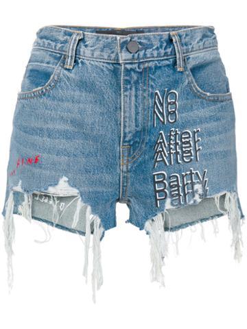 Alexander Wang - Denim 'no After Party' Shorts - Women - Cotton - 27, Blue, Cotton