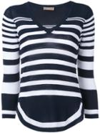 Cruciani - Cropped Striped Knitted Top - Women - Cotton - 44, Blue, Cotton