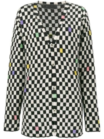 The Elder Statesman - Painted Checks Cardigan - Women - Cashmere - M, Black, Cashmere