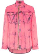 Versace Acid Washed Denim Shirt - Pink