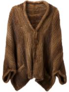 Liska Mink Fur Cape, Women's, Brown, Mink Fur