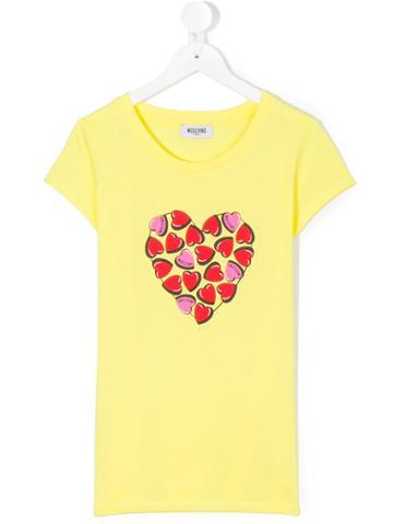 Moschino Kids Heart Print T-shirt - Yellow & Orange