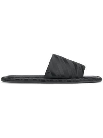 Balenciaga Black Hotel Satin Slides