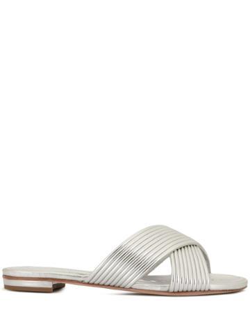Schutz Metallic Cross-over Sandals - Silver