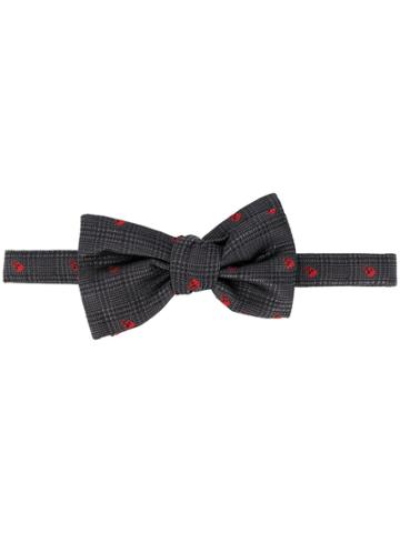 Alexander Mcqueen Embroidered Skull Bow Tie - Grey
