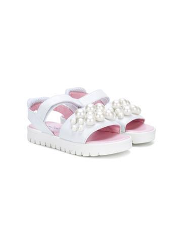Mi Mi Sol Crystal Embellished Sandals - White