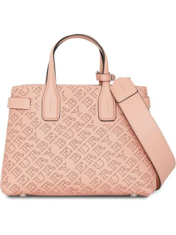 Burberry The Small Banner In Perforated Logo Leather - Pink & Purple