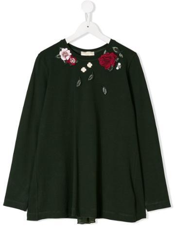 Monnalisa Teen Rose Embroidered Top - Green