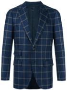 Caruso Checked Blazer, Men's, Size: 52, Blue, Cupro/wool
