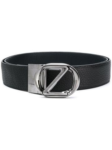 Z Zegna Silver Logo Buckle Belt - Blue