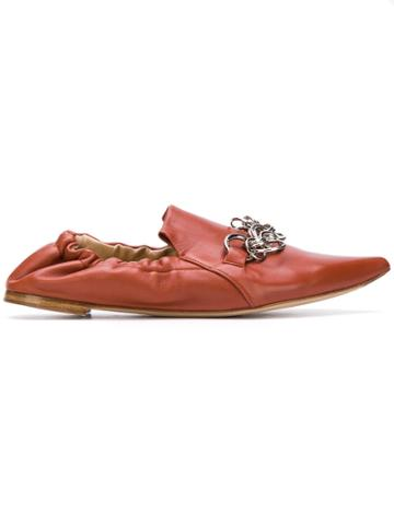 Chloé Chain Trim Slippers - Brown