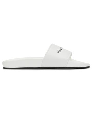 Balenciaga White Logo Pool Slides