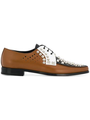 Prada Studded Oxford Shoes - Brown