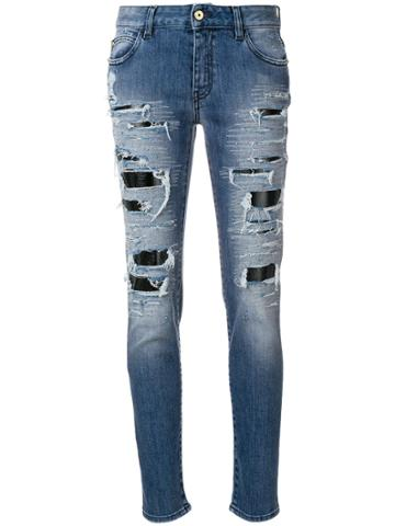 Just Cavalli Distressed Boyfriends Jeans - Blue