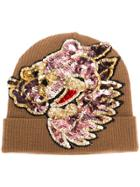 P.a.r.o.s.h. Sequin Embellished Knitted Hat - Brown