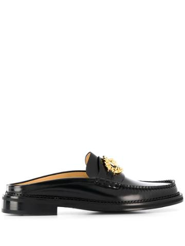 Versace Slip-on Buckle Loafers - Black