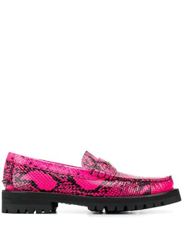 Versace Python Print Leather Loafers - Pink