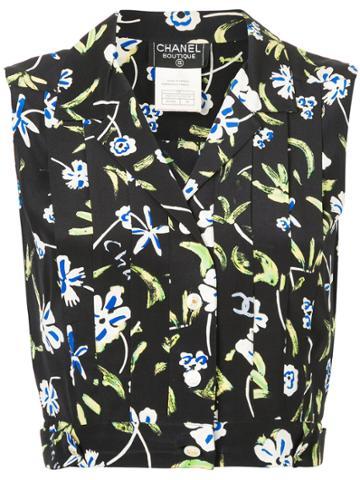Chanel Vintage Floral Cropped Blouse - Black