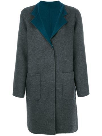 Manzoni 24 - Contrast Lapel Coat - Women - Wool/cashmere - 44, Grey, Wool/cashmere