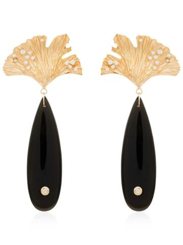Apples & Figs 24kt Gold Vermeil Sea Shore Obsidian Leaf Earrings -