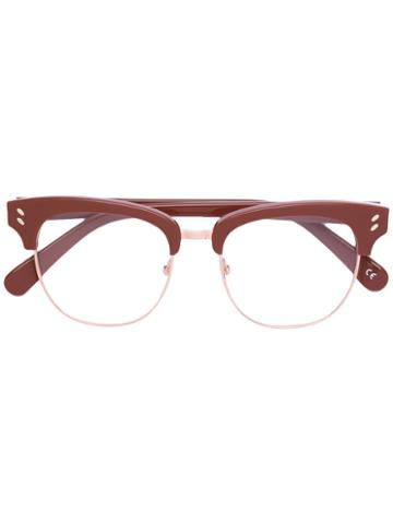 Stella Mccartney - Half Frame Glasses - Unisex - Acetate - One Size, Brown, Acetate