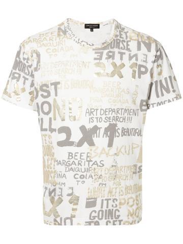 Comme Des Garçons Vintage Metallic Text Print T-shirt - White