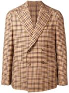 Caruso Double Breasted Gingham Jacket - Nude & Neutrals