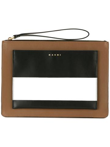 Marni - Colour Block Clutch - Women - Calf Leather - One Size, Brown, Calf Leather