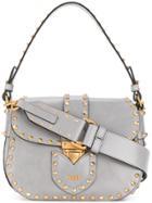 Moschino Studded Satchel Bag - Grey