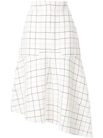 Tibi Midi Check Skirt - White
