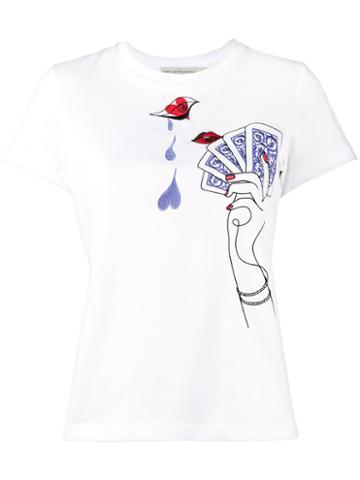 Mary Katrantzou - Card Embroidered T-shirt - Women - Cotton - M, White, Cotton