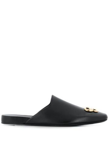 Balenciaga Bb Square Toe Slippers - Black