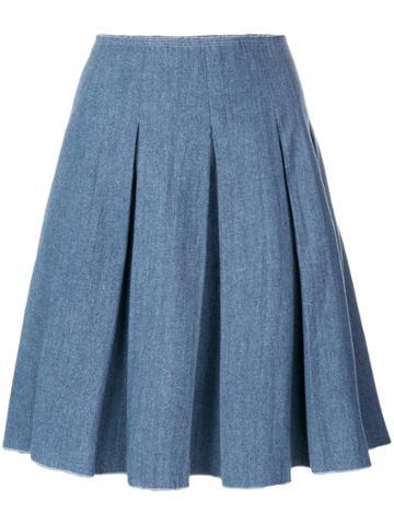 Prada Vintage Pleated Denim Skirt - Blue