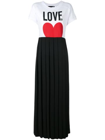 Love Moschino - Pleated Skirt T-shirt Dress - Women - Cotton/polyester/spandex/elastane - 42, Black, Cotton/polyester/spandex/elastane