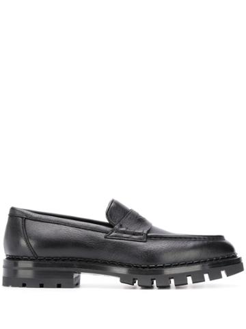 Santoni Almond Toe Loafers - Black