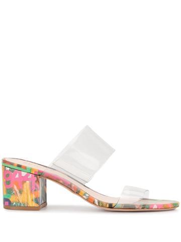 Schutz Grafitti Print Vinyl Strap Sandals - Multicolour