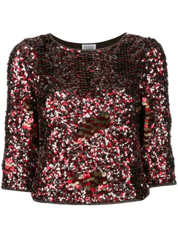 Gianfranco Ferre Vintage Three-quarters Sleeve Sequinned Blouse - Red