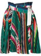 Sacai Striped Pleated Skirt - Green