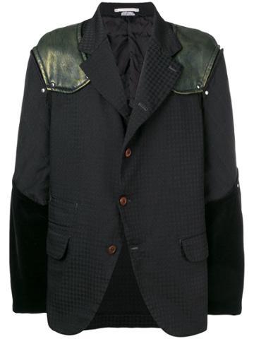 Comme Des Garçons Vintage Mixed Fabric Blazer - Black
