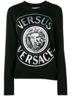 Versus Metallic Logo Print Sweatshirt - Black
